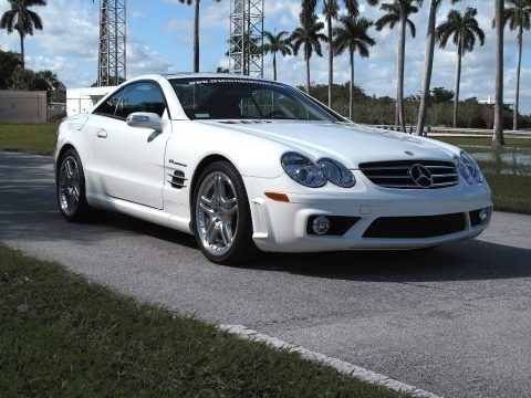 Alabaster White 2007 Mercedes-Benz SL 55 AMG Roadster