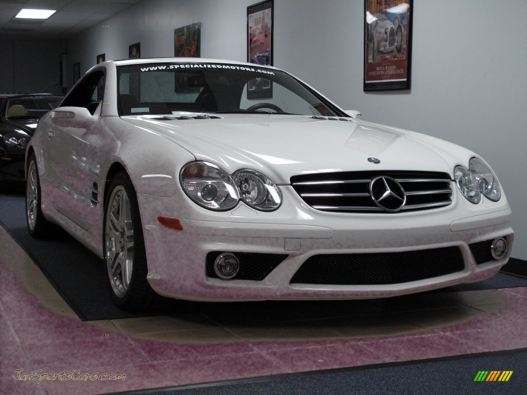 2007 SL 55 AMG Roadster - Alabaster White / Black photo #66