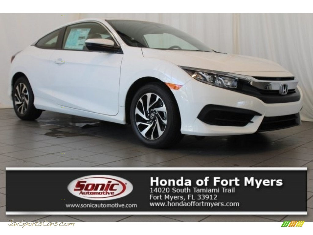 2017 Civic LX-P Coupe - Taffeta White / Black/Ivory photo #1