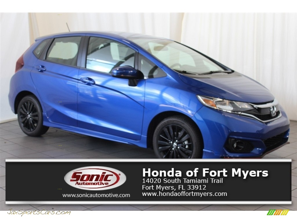 Aegean Blue Metallic / Black Honda Fit Sport