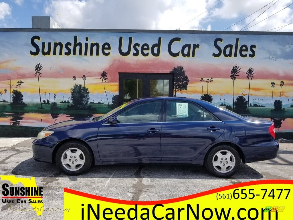 2002 Camry LE V6 - Catalina Blue Metallic / Stone photo #1