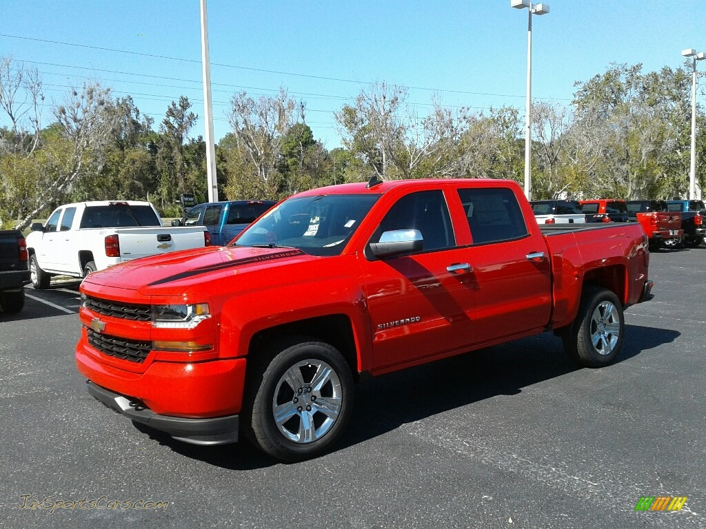 2018 Silverado 1500 Custom Crew Cab - Red Hot / Dark Ash/Jet Black photo #1