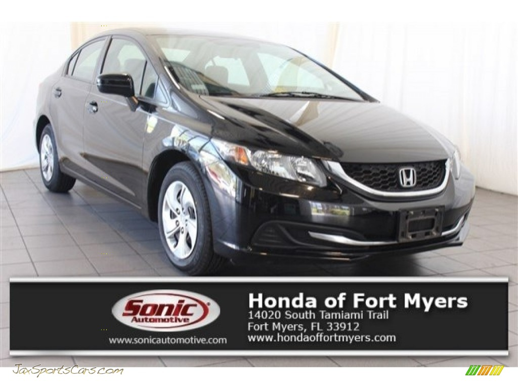 Crystal Black Pearl / Gray Honda Civic LX Sedan