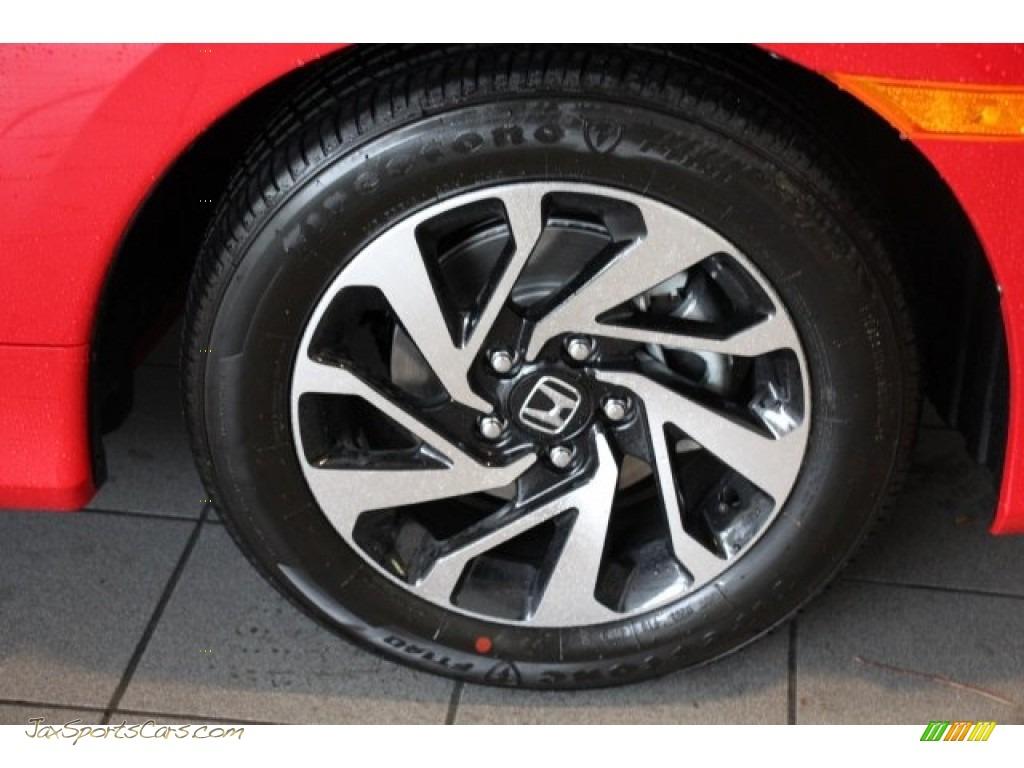 2018 Civic LX Coupe - San Marino Red / Black/Ivory photo #8