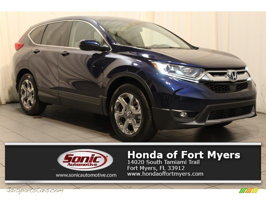 2018 CR-V EX - Obsidian Blue Pearl / Gray photo #1