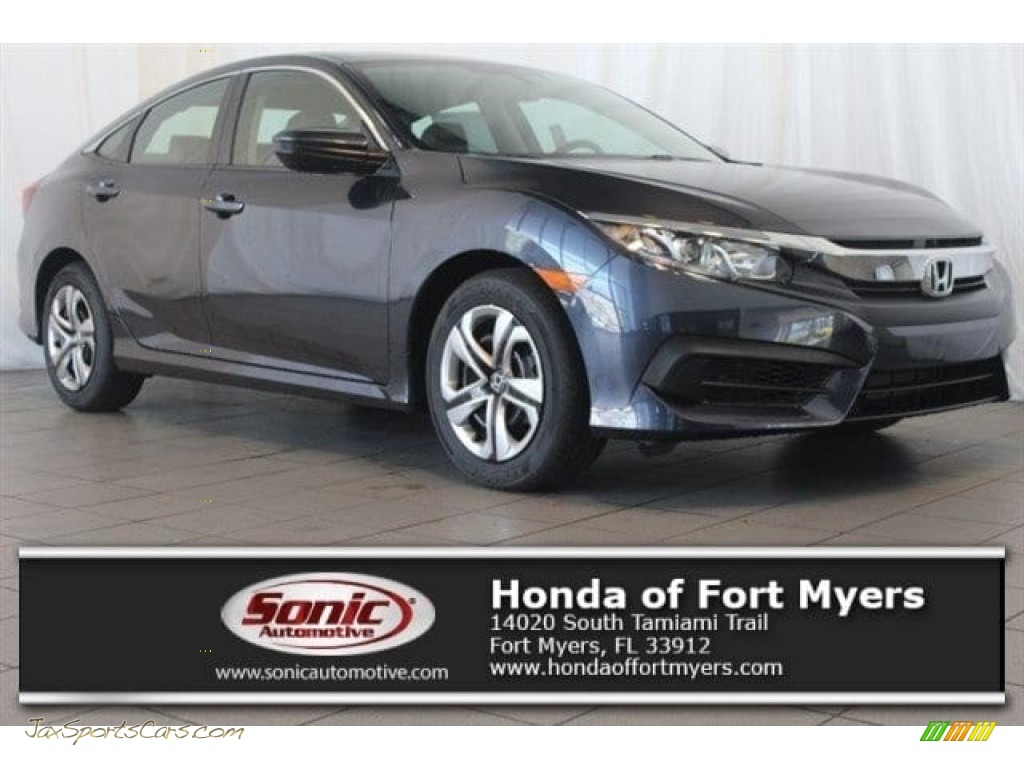 2018 Civic LX Sedan - Cosmic Blue Metallic / Gray photo #1