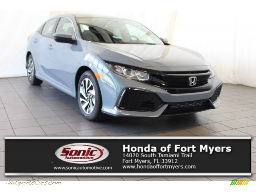 Sonic Gray Metallic / Black Honda Civic LX Hatchback