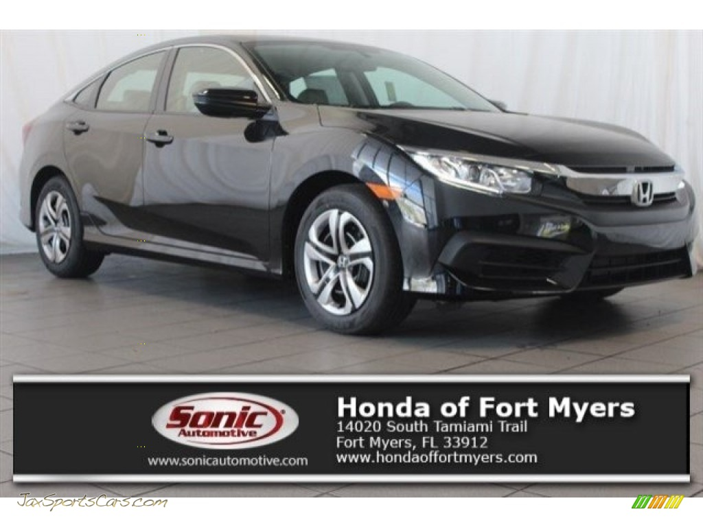 Crystal Black Pearl / Black/Ivory Honda Civic LX Sedan