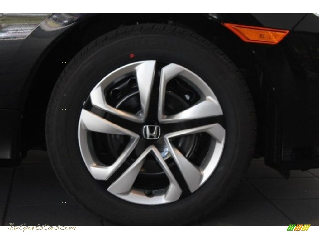 2018 Civic LX Sedan - Crystal Black Pearl / Black/Ivory photo #2