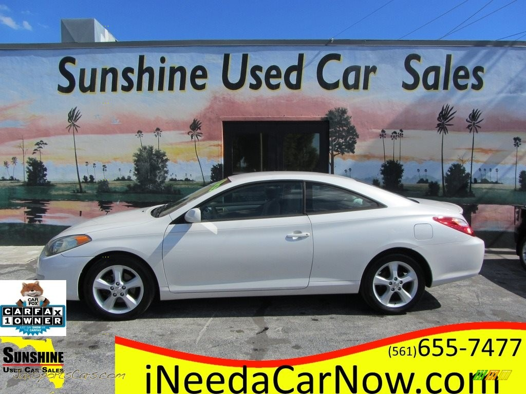 2005 Solara SE V6 Coupe - Arctic Frost Pearl White / Ivory photo #1