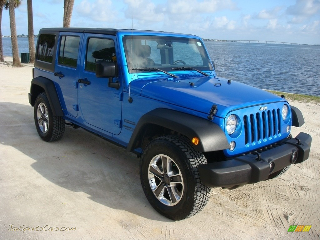 Hydro Blue Pearl / Black Jeep Wrangler Unlimited Sport 4x4