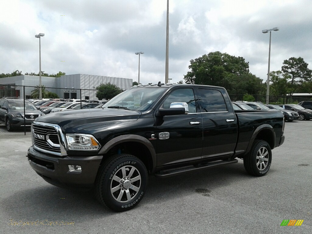 2018 2500 Laramie Longhorn Crew Cab 4x4 - Brilliant Black Crystal Pearl / Brown/Light Frost Beige photo #1