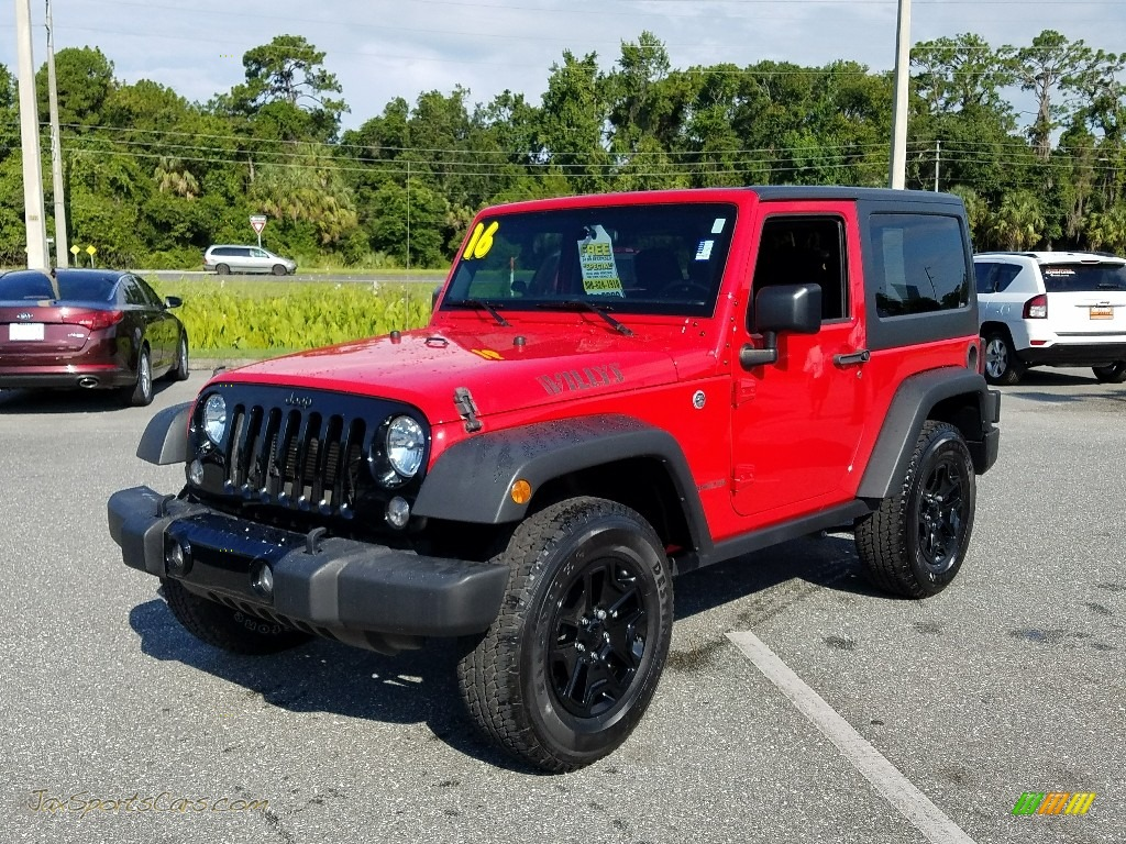 2016 Wrangler Willys Wheeler 4x4 - Firecracker Red / Black photo #1
