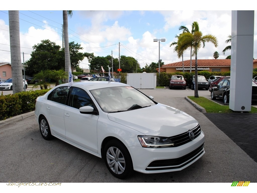 2017 Jetta S - Pure White / Black/Palladium Gray photo #1