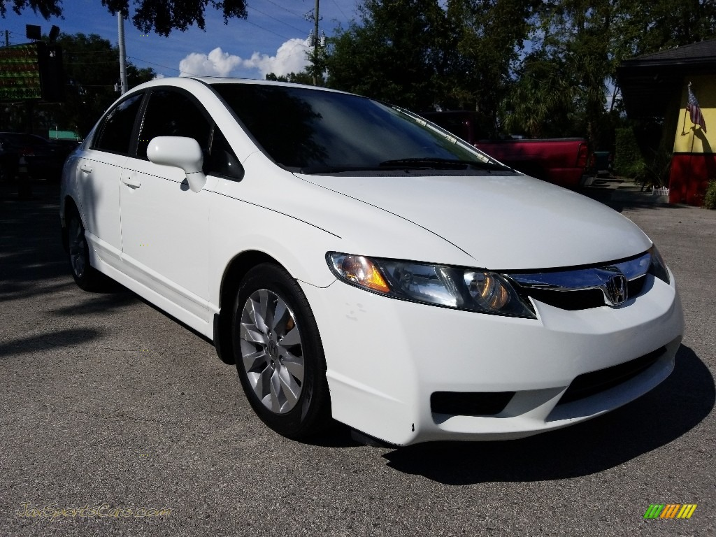 2009 Civic EX Sedan - Taffeta White / Gray photo #1
