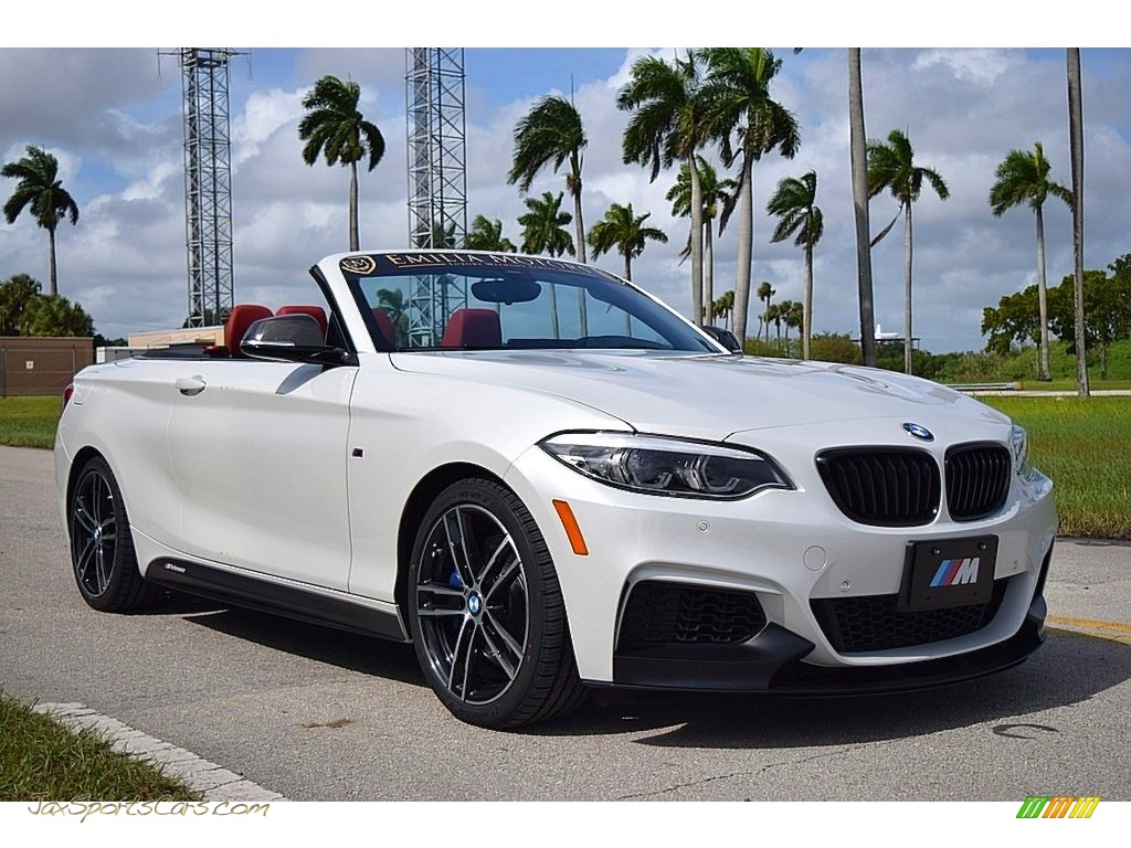 2019 2 Series M240i Convertible - Mineral White Metallic / Coral Red photo #1