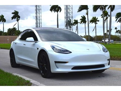 Pearl White Multi-Coat 2018 Tesla Model 3 Long Range