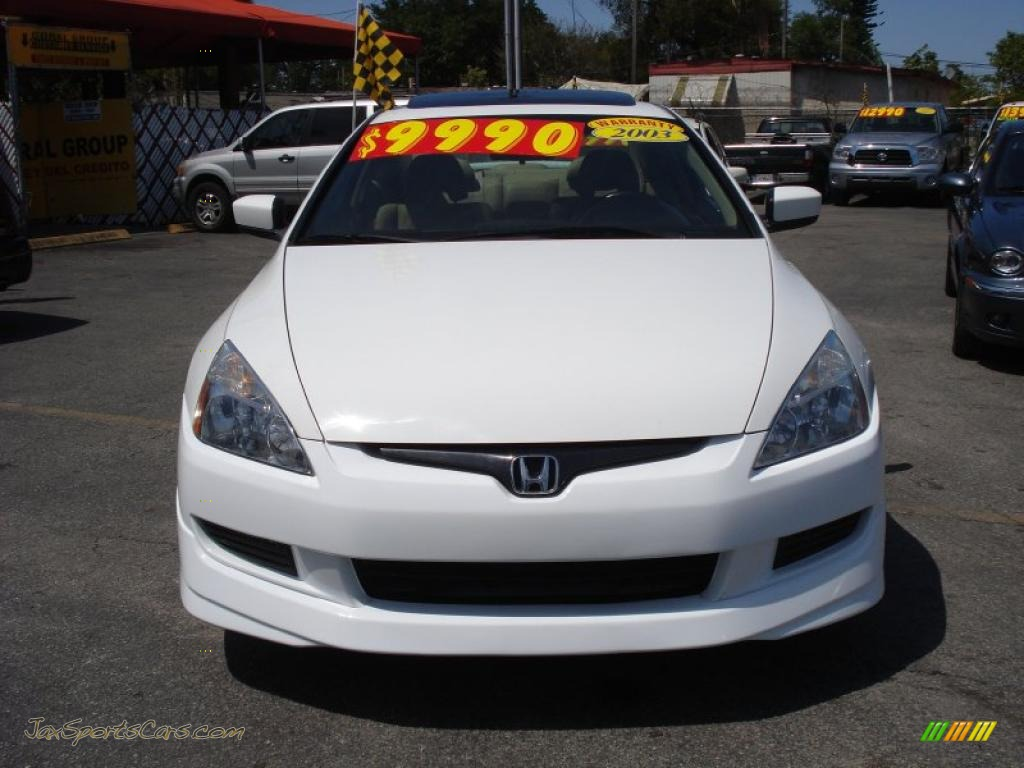 2003 honda accord ex v6 coupe in taffeta white photo 2 002205 jax sports cars cars for. Black Bedroom Furniture Sets. Home Design Ideas