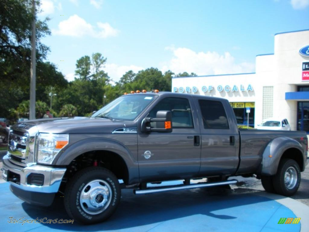 Sterling gray metallic steel ford f350 super duty xlt crew cab 4x4 dually