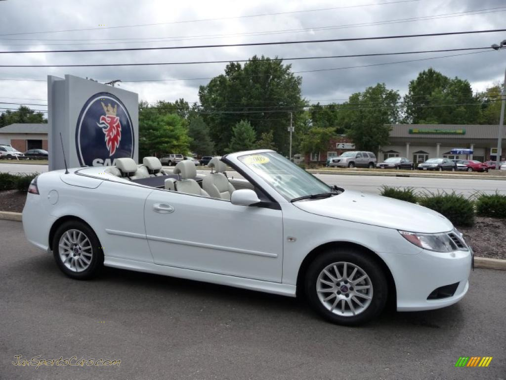 2009 Saab 9 3 2 0t Convertible In Arctic White Photo 4