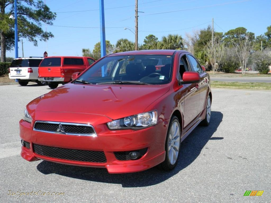 2008 mitsubishi lancer gts in rally red pearl 009942 jax sports cars cars for sale in florida. Black Bedroom Furniture Sets. Home Design Ideas