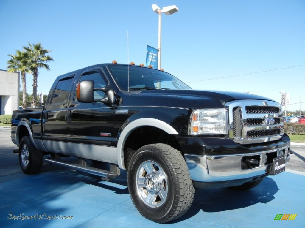 2005 F250 Super Duty Lariat Crew Cab 4x4 - Black / Medium Flint photo #7