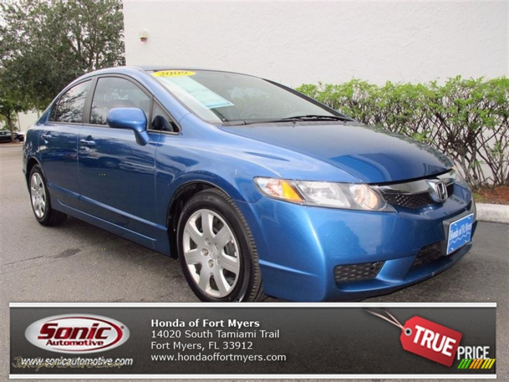 2009 Honda Civic Lx Sedan In Atomic Blue Metallic Photo