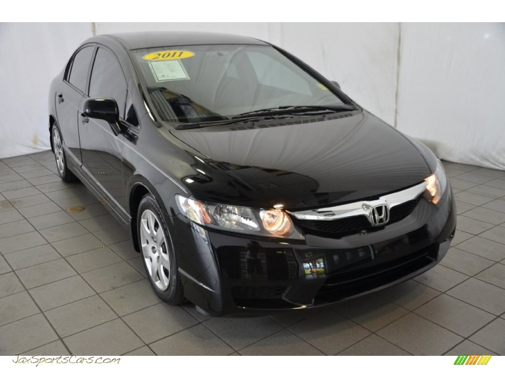 2011 Honda Civic Lx Sedan In Crystal Black Pearl 028290