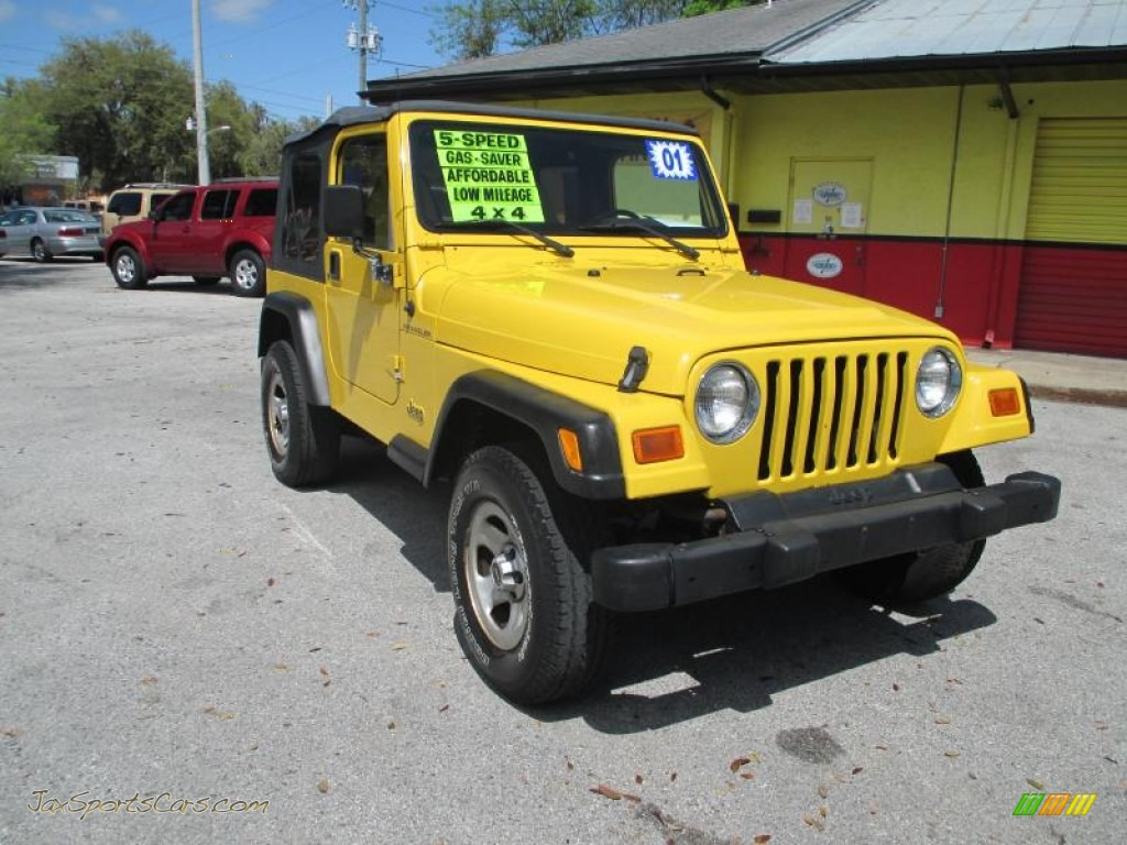 2001 jeep wrangler se 4x4 in solar yellow 318315 jax sports cars cars for sale in florida. Black Bedroom Furniture Sets. Home Design Ideas